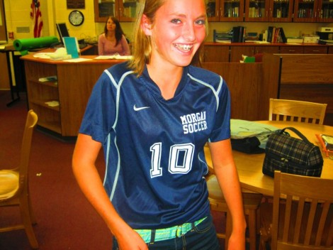 A happy looking freshman on the girls soccer team!