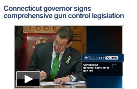 Connecticut Governor Malloy signing new gun laws.