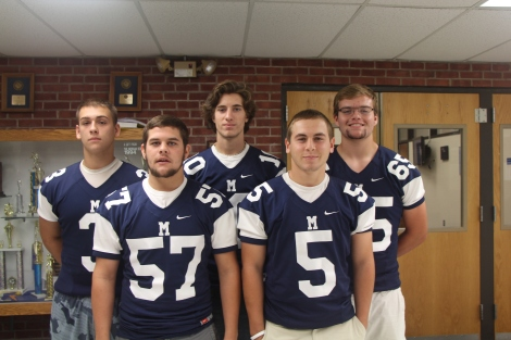 Football captains Alex Lipka, Mark Zumpano, Riley Cronan, Greg Lee and Jake Ward