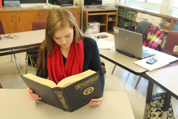 Katie Costello being studious