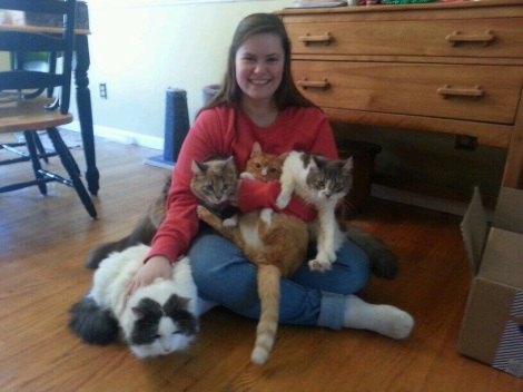 Erika Renkl and her four cats