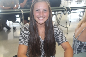 Grace Roman (Freshman)- was very nervous, but the upperclassmen helped her. After the first few days, she adapted well, and she loves the new school.