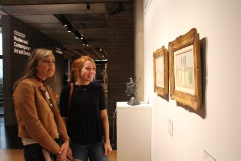 Claudia and Alex admiring modern art