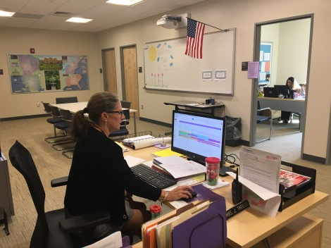 Mrs. Theiler in the Support Center